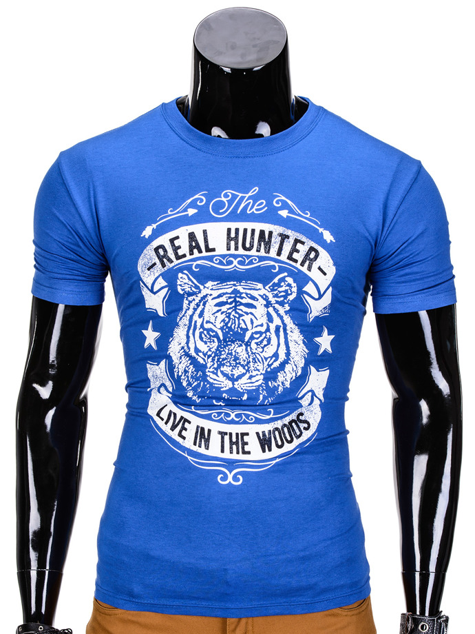 Men's printed t-shirt S840 - blue