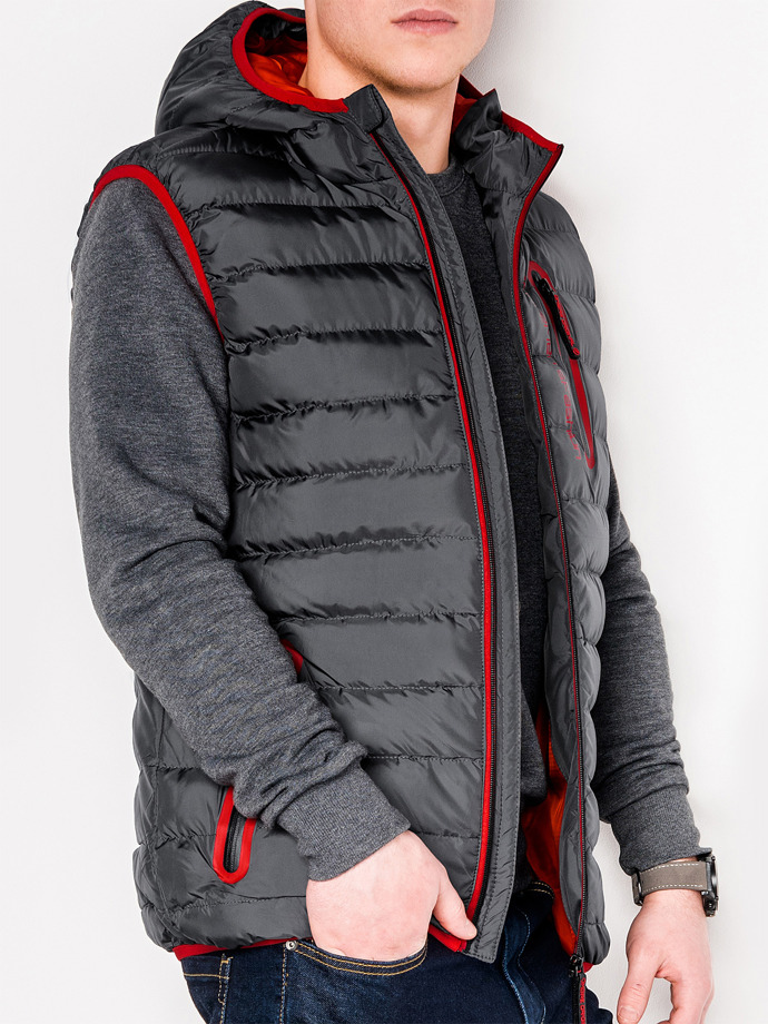Men's quilted vest V41 - grey