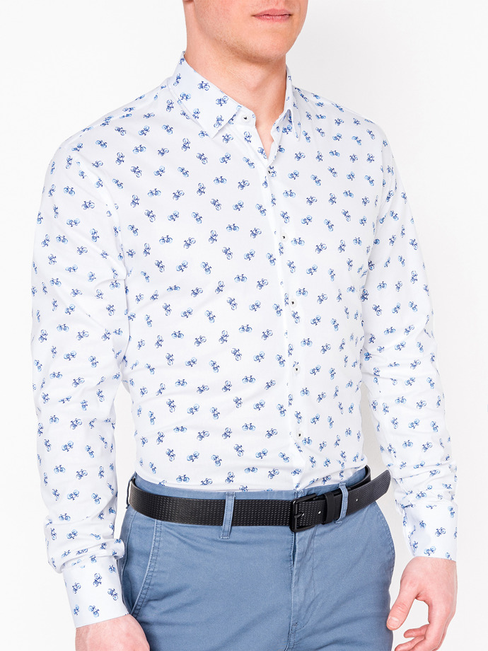 Men's shirt with long sleeves K455 - white