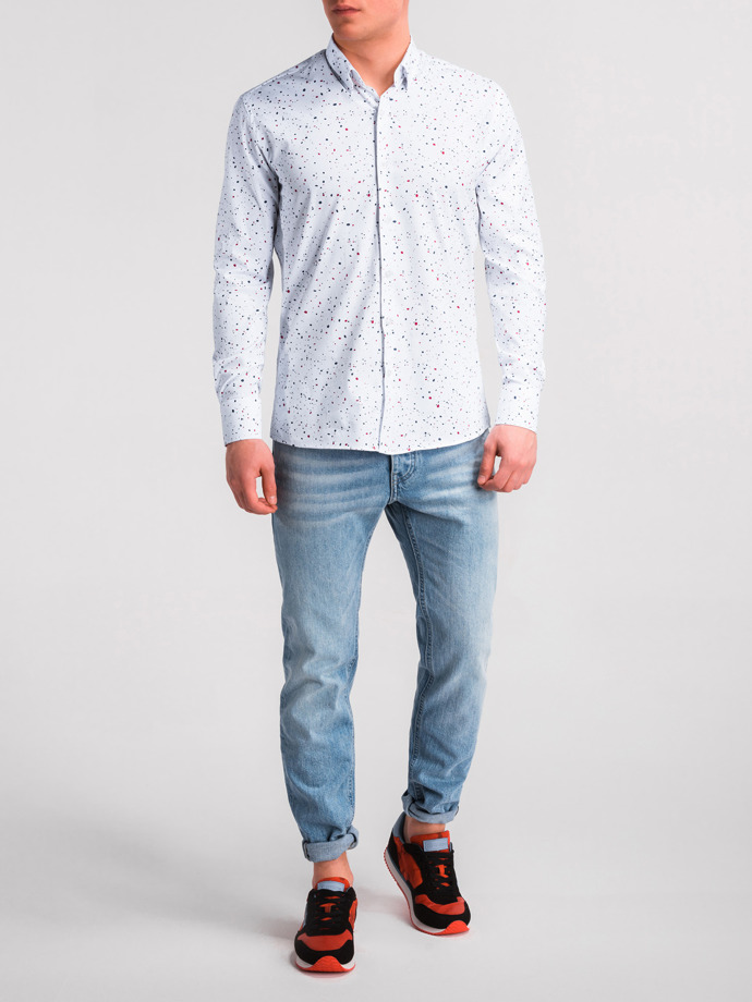 Men's shirt with long sleeves K462 - white