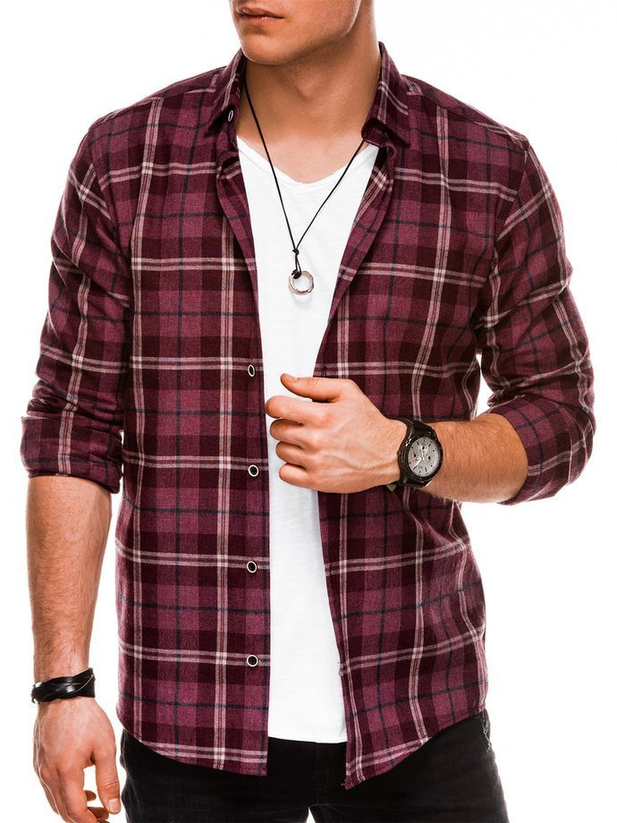 Men's shirt with long sleeves K511 - dark red