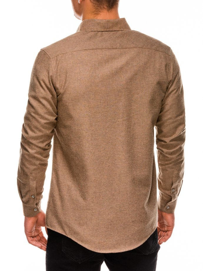 Men's shirt with long sleeves K512 - light brown