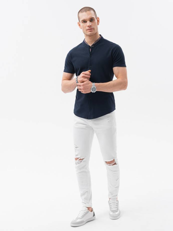 Men's shirt with short sleeves K543 - navy
