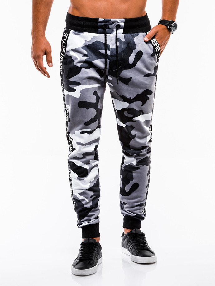 Men's sweatpants P653 - grey/camo