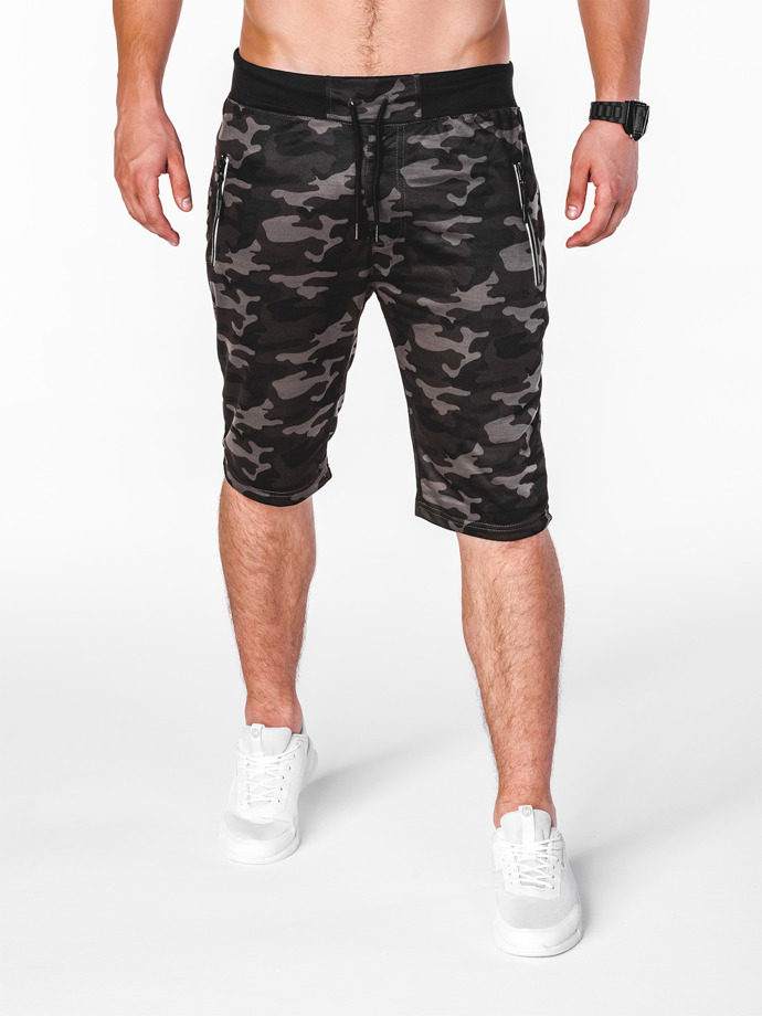 Men's sweatshorts W070 - dark grey/camo