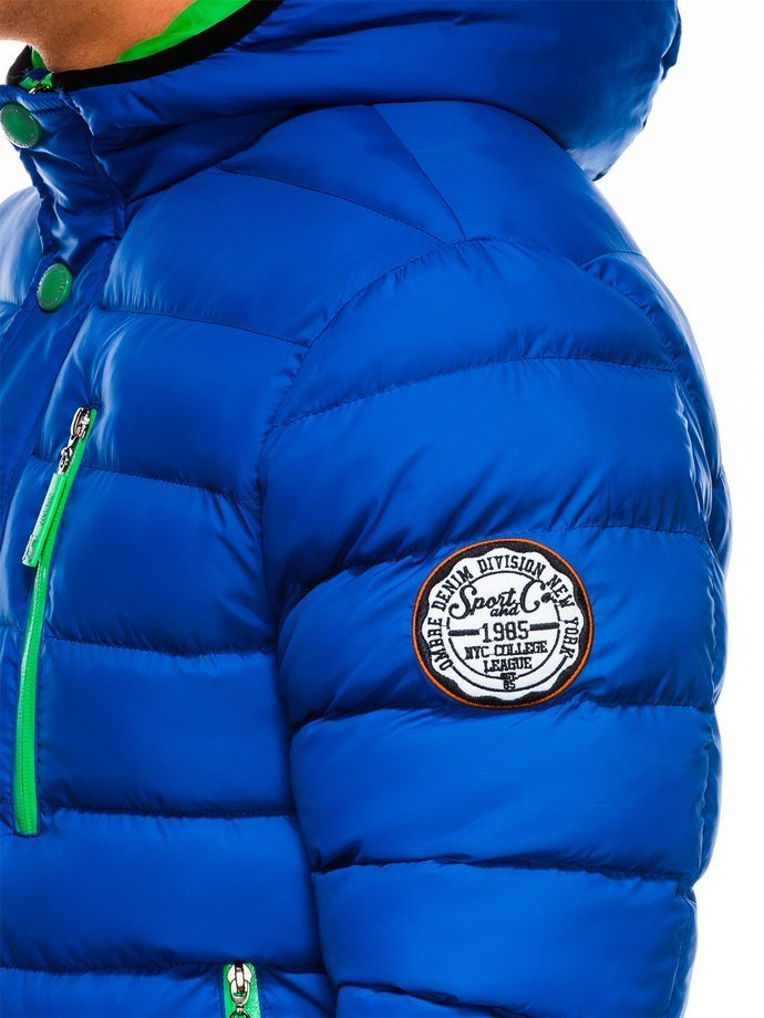 Men's winter quilted jacket C124 - blue