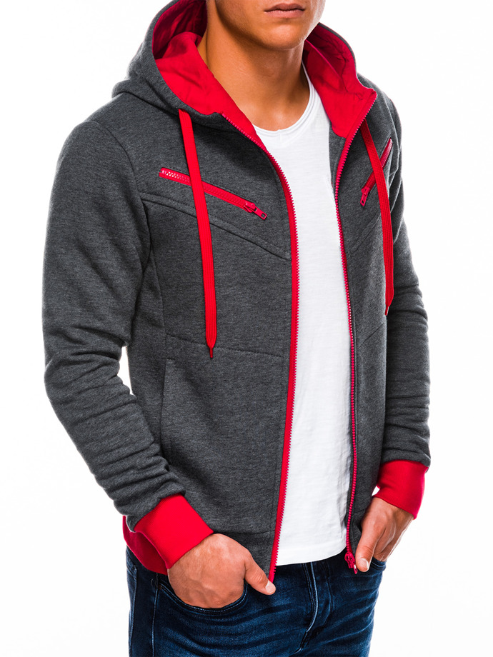 Men's zip-up hoodie AMIGO - dark grey/red