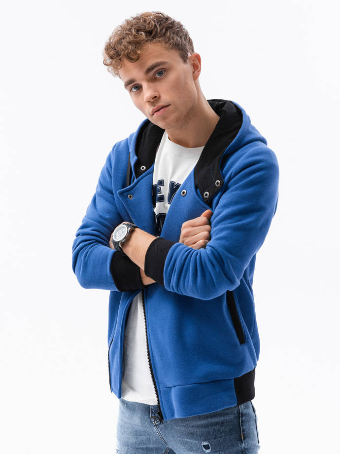 Men's zip-up hoodie B297 - blue