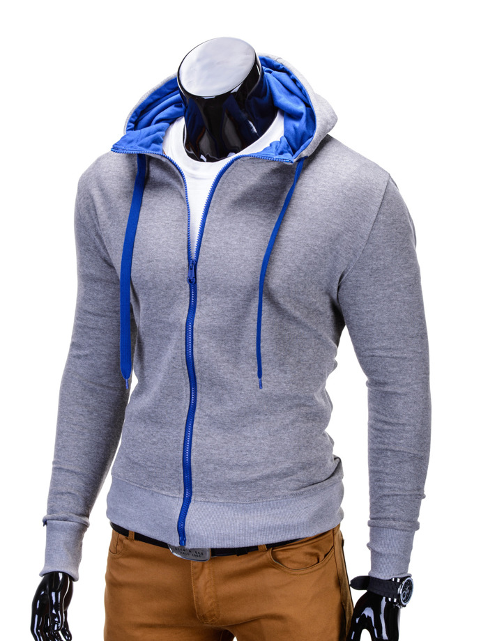 Men's zip-up hoodie B485 - grey/blue