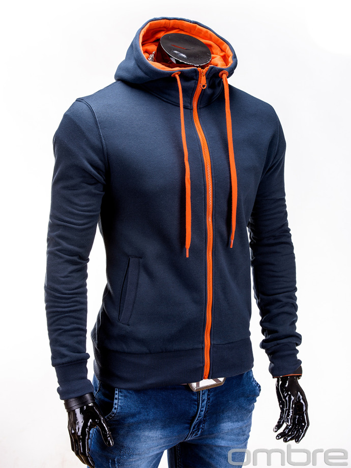 Men's zip-up hoodie B485 - navy/orange