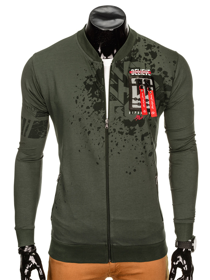Men's zip-up sweatshirt B804 - khaki