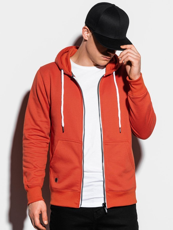 Men's zip-up sweatshirt B977 - brick
