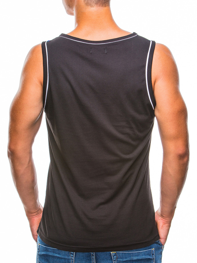 Printed men's tank top S780 - black