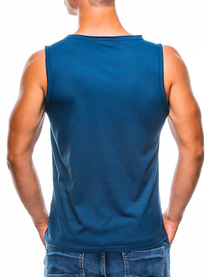 Printed men's tank top S785 - navy