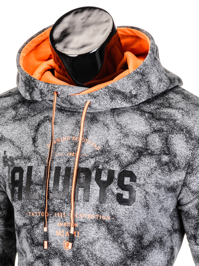 Printed men's hoodie B706 - dark grey