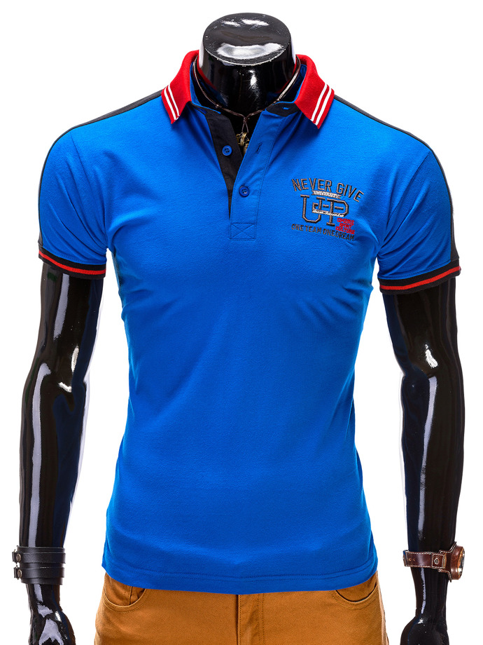 Printed men's polo shirt S508 - blue