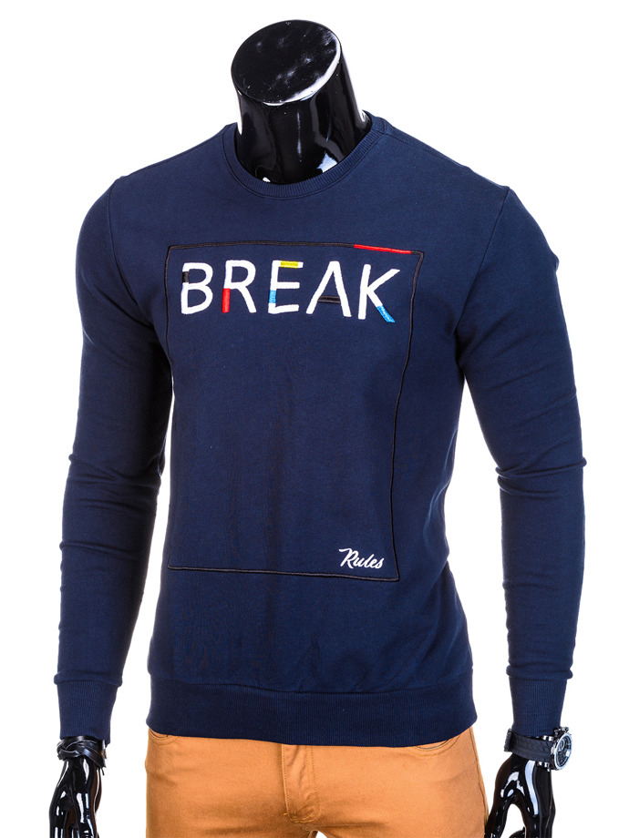 Printed men's sweatshirt B730 - navy