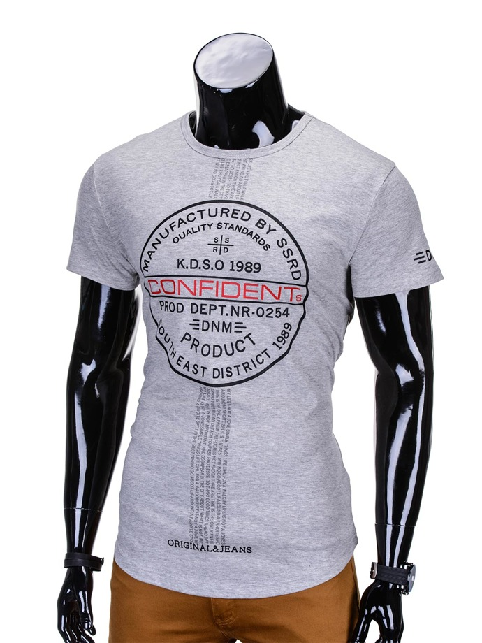 Printed men's t-shirt S774 - grey