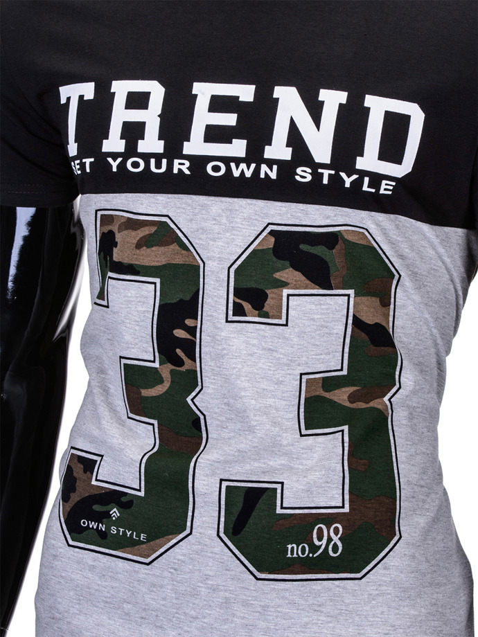 Printed men's t-shirt S788 - black