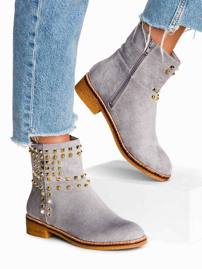 Studded ankle boots grey lr056