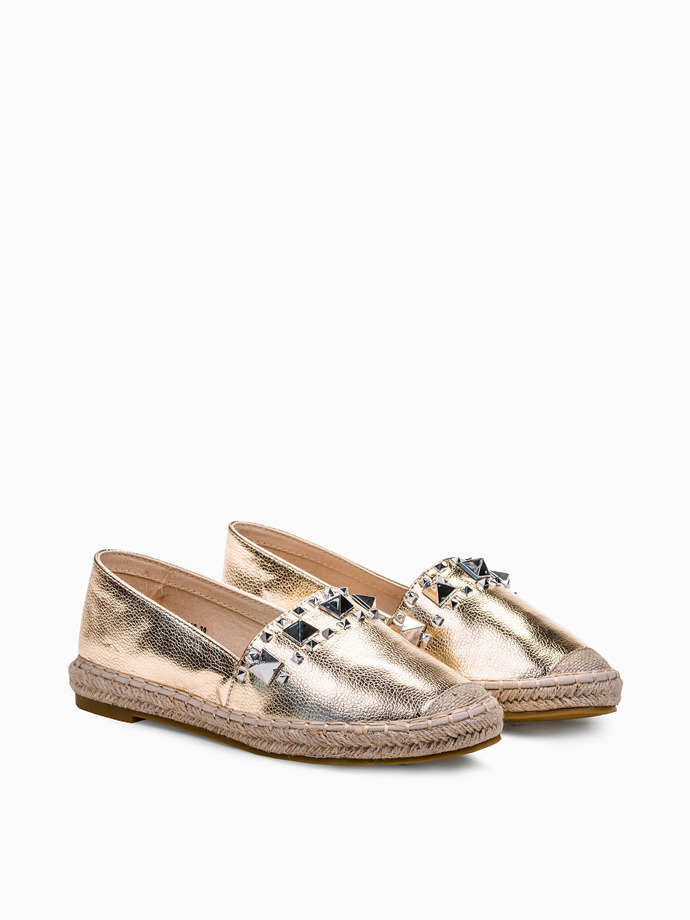 Women's espadrilles with studs LR188 gold