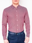Men's check shirt with long sleeves K439 - red
