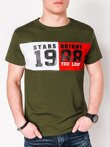 Men's printed t-shirt S1076 - khaki