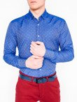 Men's shirt with long sleeves K431 - blue