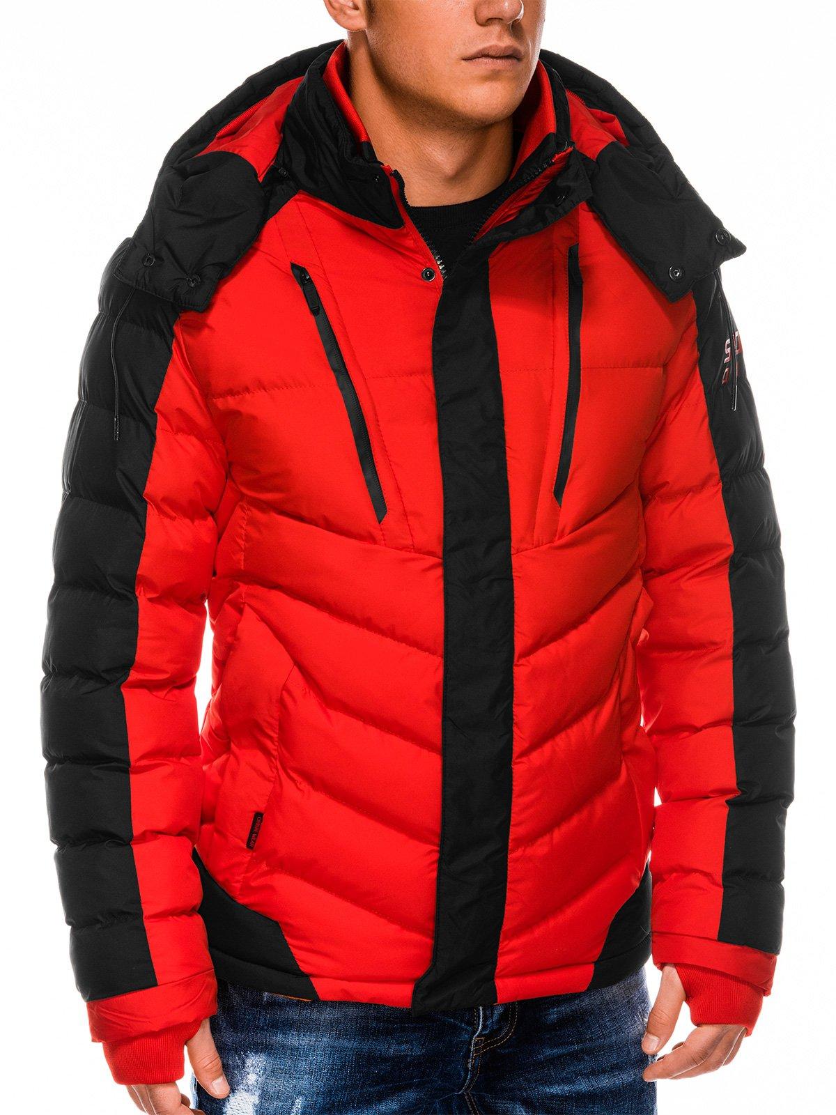 Kurtka męska zimowa pikowana C417 czerwona   MODONE